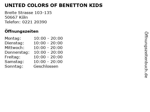 UNITED COLORS OF BENETTON KIDS in Köln: Adresse und Öffnungszeiten