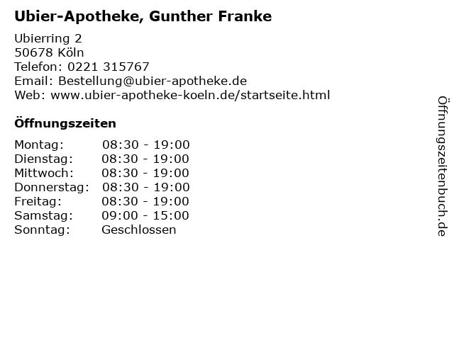 Ubier-Apotheke, Gunther Franke in Köln: Adresse und Öffnungszeiten