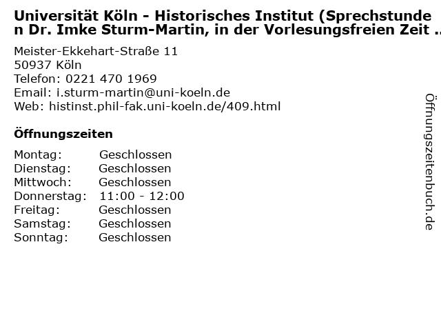ᐅ öffnungszeiten Universität Köln Historisches Institut