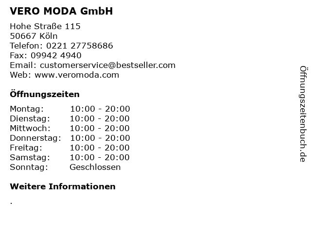 VERO MODA GmbH in Köln: Adresse und Öffnungszeiten