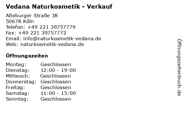 Vedana Naturkosmetik - Verkauf in Köln: Adresse und Öffnungszeiten