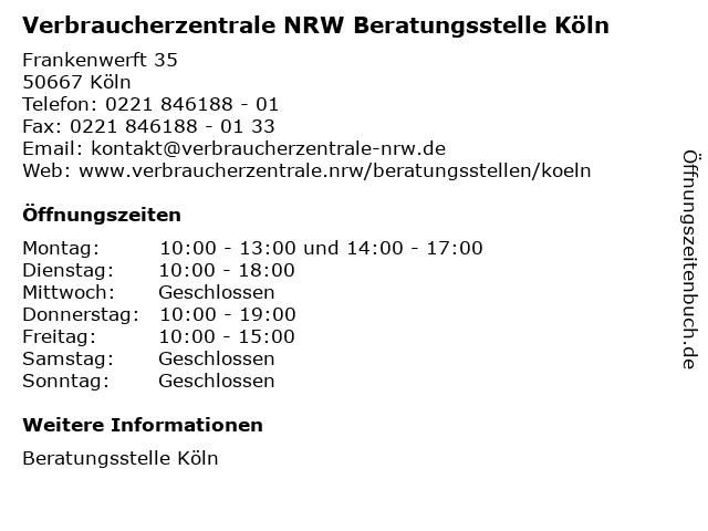 Verbraucherzentrale NRW Beratungsstelle Köln in Köln: Adresse und Öffnungszeiten