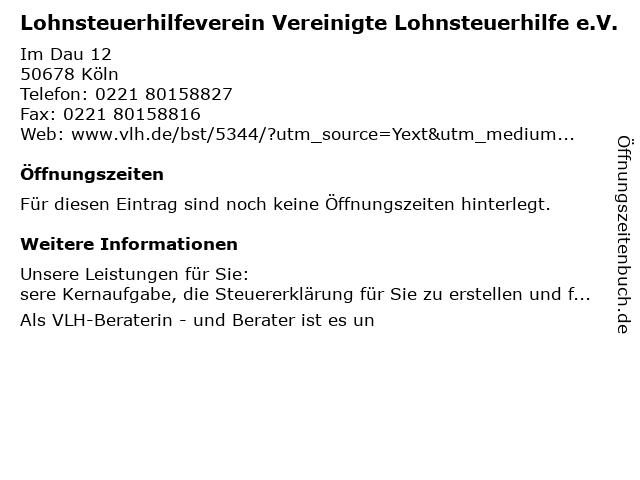 Vereinigte Lohnsteuerhilfe e.V. in Köln: Adresse und Öffnungszeiten