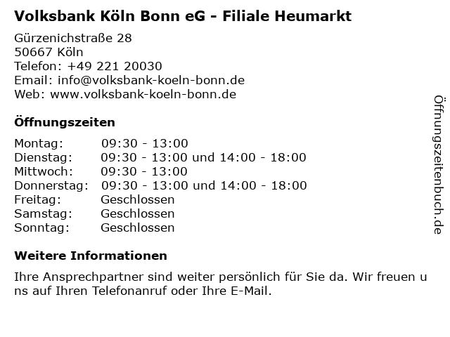 ᐅ Offnungszeiten Volksbank Koln Bonn Eg Filiale Heumarkt
