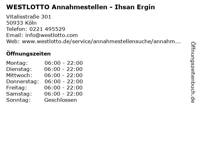 WESTLOTTO Annahmestellen - Ihsan Ergin in Köln: Adresse und Öffnungszeiten