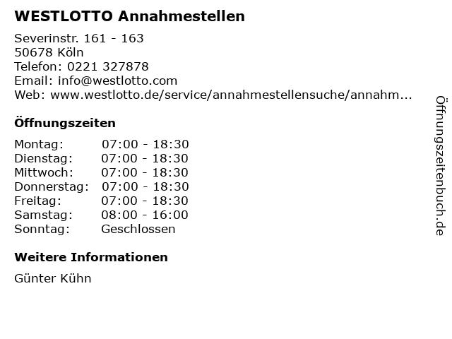 WESTLOTTO Annahmestellen in Köln: Adresse und Öffnungszeiten