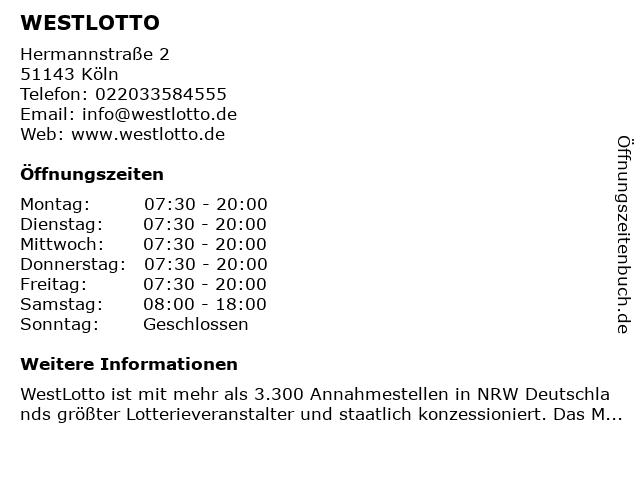 WESTLOTTO in Köln: Adresse und Öffnungszeiten