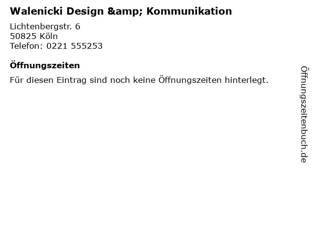 Walenicki Design & Kommunikation in Köln: Adresse und Öffnungszeiten