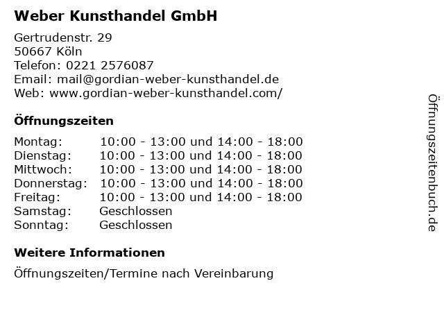 Weber Kunsthandel GmbH in Köln: Adresse und Öffnungszeiten