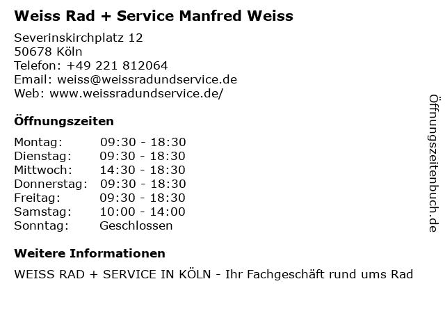 Weiss Rad + Service Manfred Weiss in Köln: Adresse und Öffnungszeiten