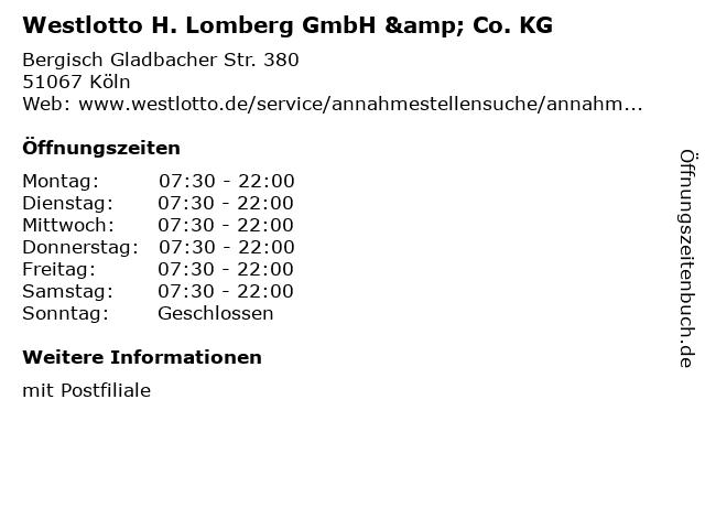 Westlotto H. Lomberg GmbH & Co. KG in Köln: Adresse und Öffnungszeiten