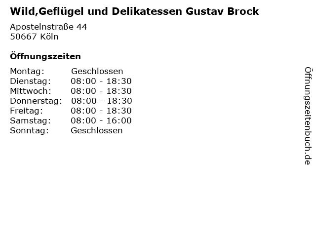 Wild,Geflügel und Delikatessen Gustav Brock in Köln: Adresse und Öffnungszeiten