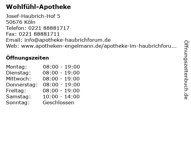 Wohlfühl-Apotheke in Köln: Adresse und Öffnungszeiten