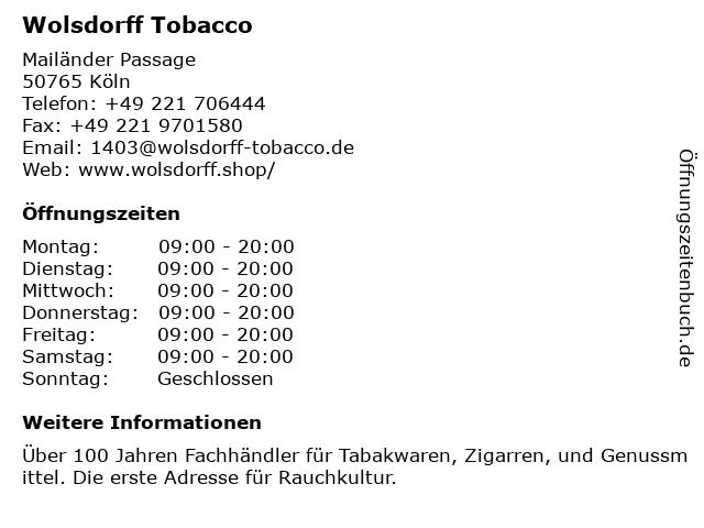 Wolsdorff Tobacco in Köln: Adresse und Öffnungszeiten
