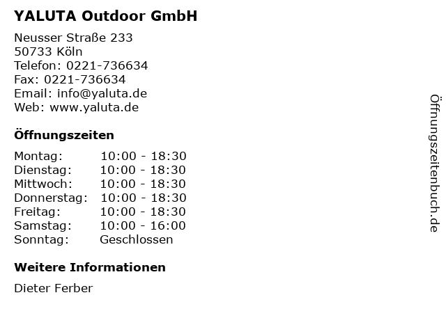 YALUTA Outdoor GmbH in Köln: Adresse und Öffnungszeiten