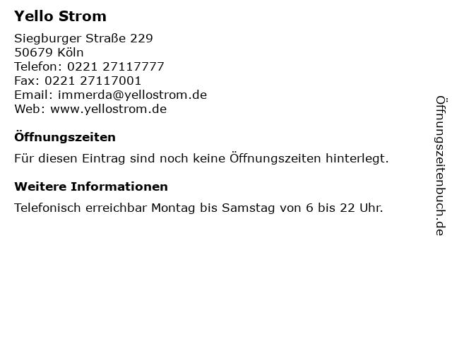 Yello Strom in Köln: Adresse und Öffnungszeiten