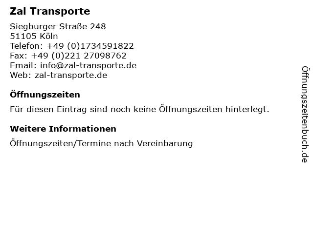 Zal Transporte in Köln: Adresse und Öffnungszeiten