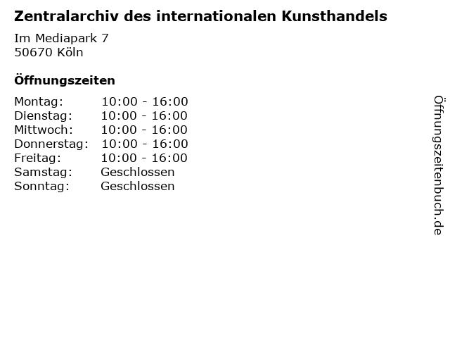 Zentralarchiv des internationalen Kunsthandels in Köln: Adresse und Öffnungszeiten