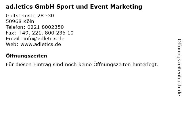 ad.letics GmbH Sport und Event Marketing in Köln: Adresse und Öffnungszeiten