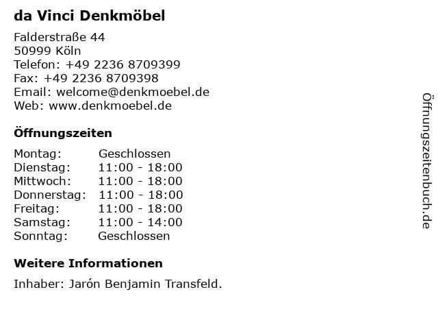 da Vinci Denkmöbel in Köln: Adresse und Öffnungszeiten