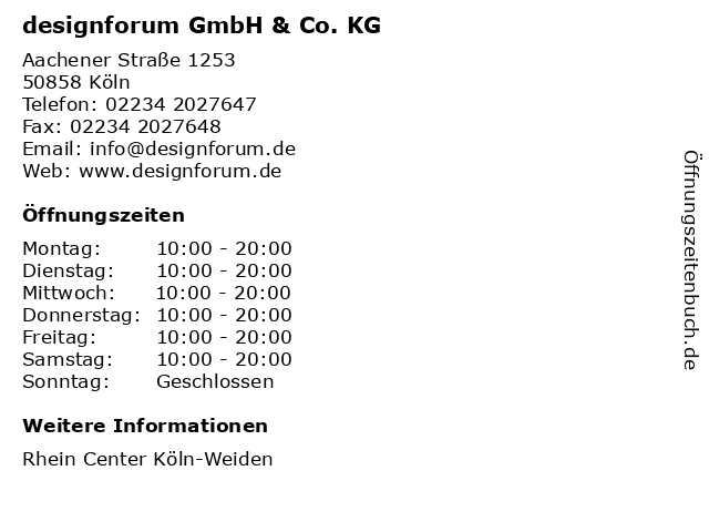 designforum GmbH & Co. KG in Köln: Adresse und Öffnungszeiten