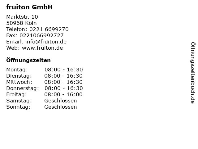 fruiton GmbH in Köln: Adresse und Öffnungszeiten