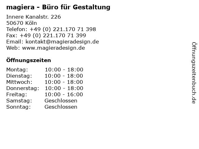 magiera - Büro für Gestaltung in Köln: Adresse und Öffnungszeiten