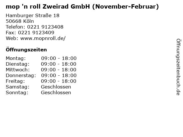 mop 'n roll Zweirad GmbH (November-Februar) in Köln: Adresse und Öffnungszeiten