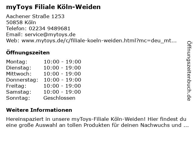 myToys Filiale Köln-Weiden in Köln: Adresse und Öffnungszeiten