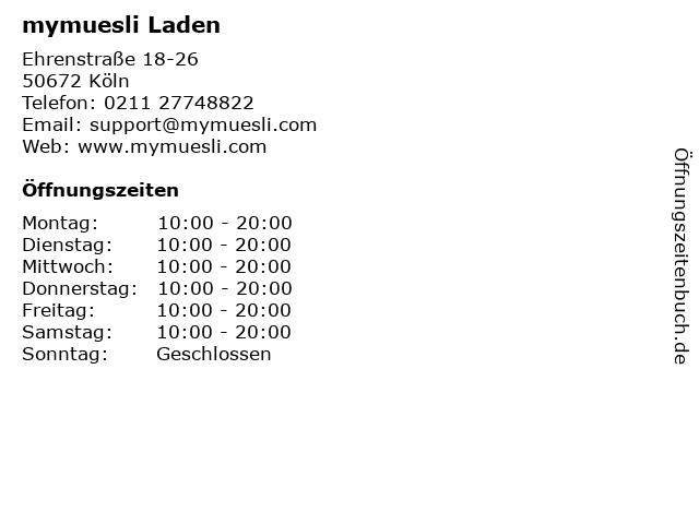 mymuesli Laden in Köln: Adresse und Öffnungszeiten