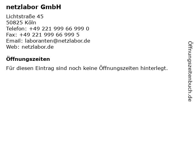 netzlabor GmbH in Köln: Adresse und Öffnungszeiten