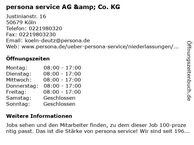 persona service AG & Co. KG in Köln: Adresse und Öffnungszeiten