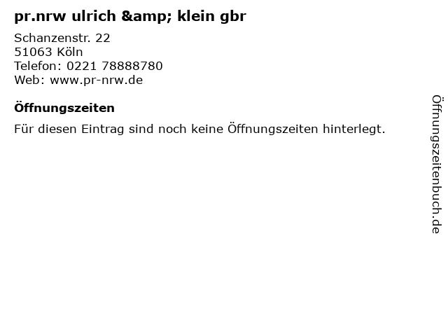 pr.nrw ulrich & klein gbr in Köln: Adresse und Öffnungszeiten