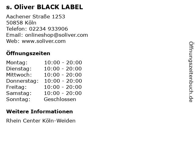 s. Oliver BLACK LABEL in Köln: Adresse und Öffnungszeiten