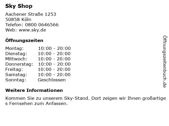 sky Entertainment Point in Köln: Adresse und Öffnungszeiten