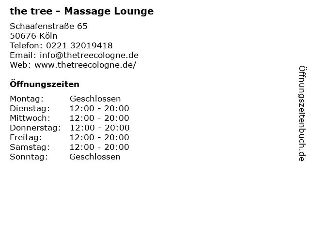 the tree - Massage Lounge in Köln: Adresse und Öffnungszeiten