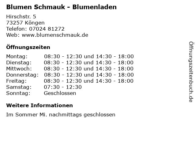 Blumen Schmauk - Blumenladen in Köngen: Adresse und Öffnungszeiten