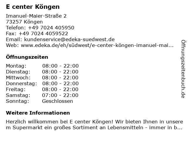 E center Köngen in Köngen: Adresse und Öffnungszeiten