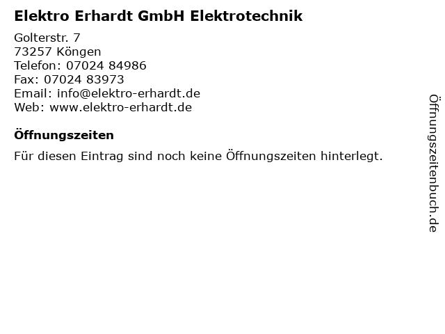 Elektro Erhardt GmbH Elektrotechnik in Köngen: Adresse und Öffnungszeiten