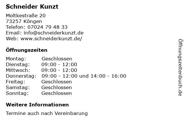 Schneider Kunzt in Köngen: Adresse und Öffnungszeiten