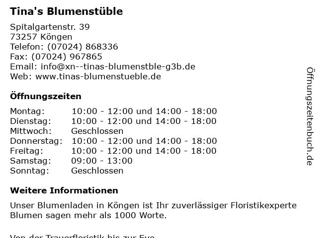 Tina's Blumenstüble in Köngen: Adresse und Öffnungszeiten
