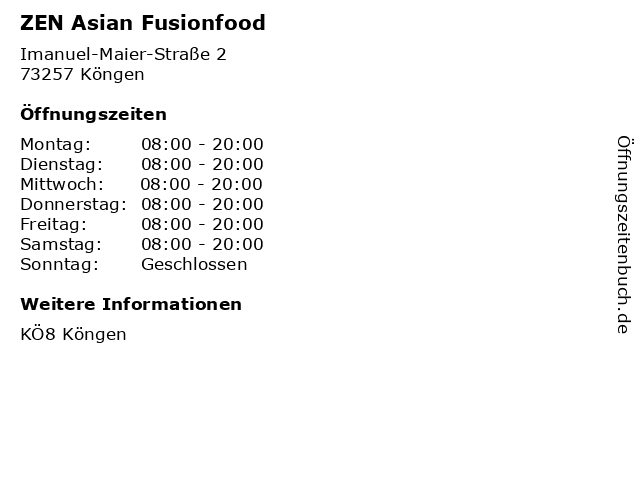 ZEN Asian Fusionfood in Köngen: Adresse und Öffnungszeiten