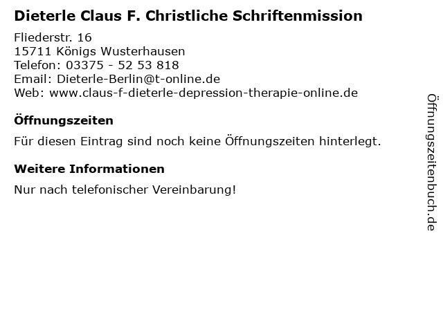 Dieterle Claus F. Christliche Schriftenmission in Berlin: Adresse und Öffnungszeiten