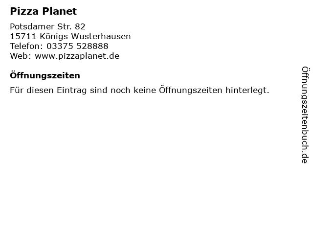 Pizza Planet in Königs Wusterhausen: Adresse und Öffnungszeiten