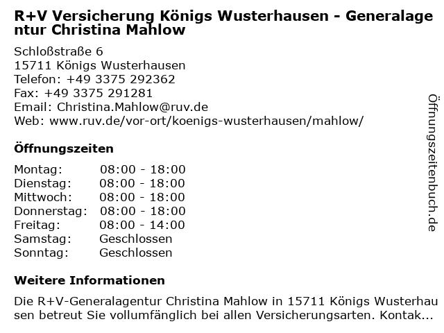 R+V Versicherung Königs Wusterhausen - Generalagentur Christina Mahlow in Königs Wusterhausen: Adresse und Öffnungszeiten