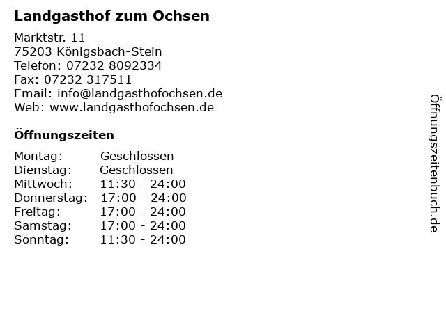 Landgasthof zum Ochsen in Königsbach-Stein: Adresse und Öffnungszeiten