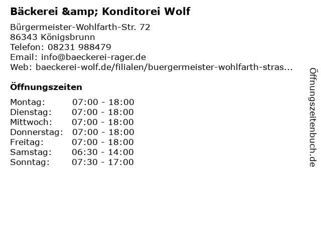 Bäckerei & Konditorei Wolf in Königsbrunn: Adresse und Öffnungszeiten