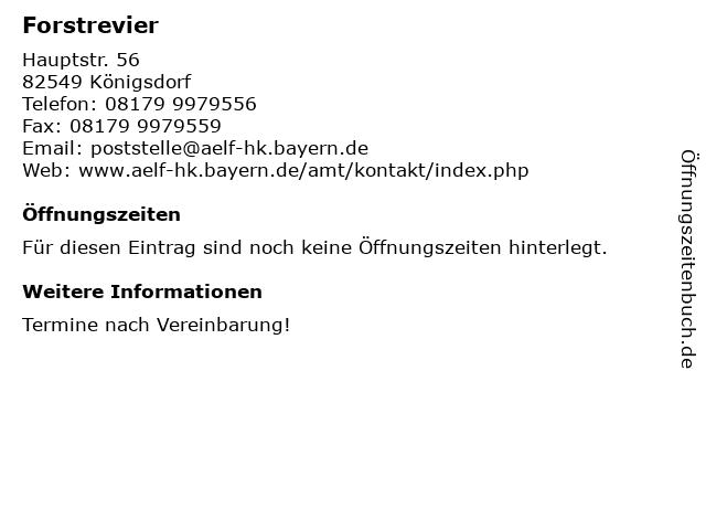 Forstrevier in Königsdorf: Adresse und Öffnungszeiten