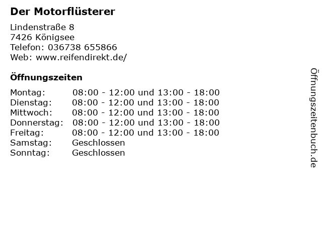 Der Motorflüsterer in Königsee: Adresse und Öffnungszeiten