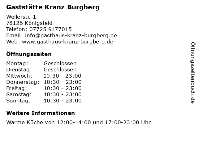 Gaststätte Kranz Burgberg in Königsfeld: Adresse und Öffnungszeiten